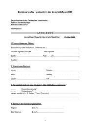 Bundespreis für Handwerk in der Denkmalpflege 2009