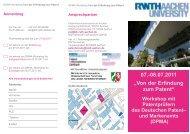 """07.-08.07.2011 """"Von der Erfindung zum Patent"""" Workshop mit ..."""