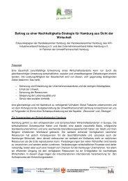 Beitrag zu einer Nachhaltigkeits-Strategie für Hamburg aus Sicht der ...