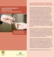 Unternehmensnachfolge im Ländlichen Raum Planung, Potenziale ...
