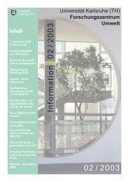 FZU Information 2/2003 - Universität Karlsruhe - Forschungszentrum ...