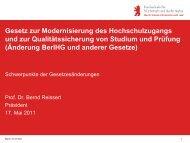 BerlHG Novelle 2011 - Hochschule für Wirtschaft und Recht Berlin