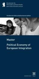 Political Economy of European Integration Master - Hochschule für ...