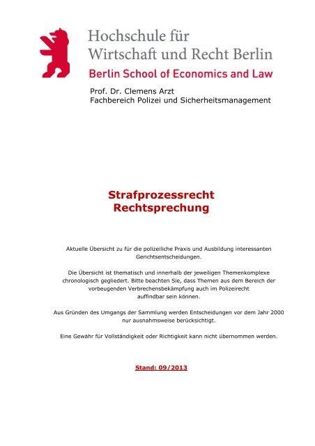 Polizei und Strafprozessrecht (Rechtsprechung) - HWR Berlin