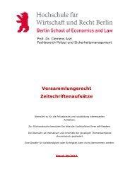 Versammlungsrecht Zeitschriftenaufsätze - HWR Berlin