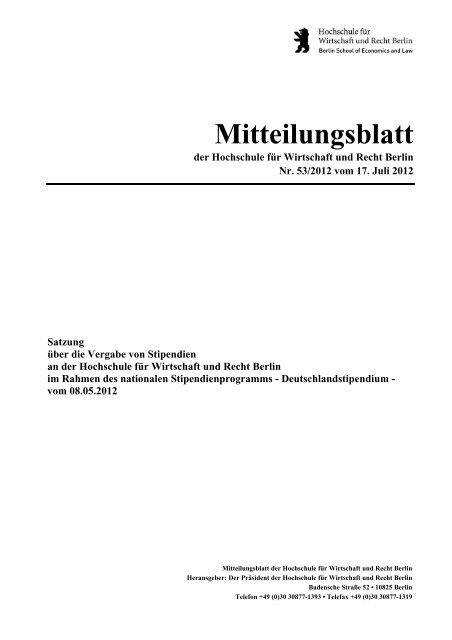 Satzung - Hochschule für Wirtschaft und Recht Berlin
