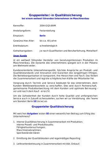 Gruppenleiter/-in Qualitätssicherung