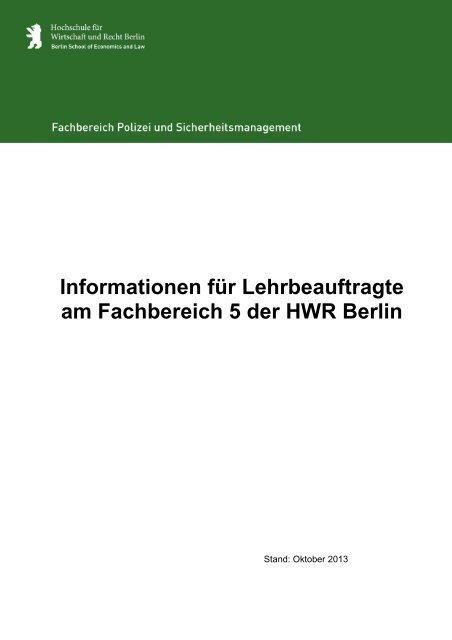 01 Lehrbeauftragten-Guide FB5 _laufende Bearbeitung_ - HWR Berlin