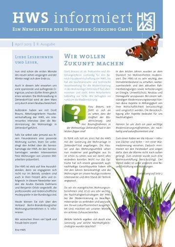 April 2013 - Hilfswerk-Siedlung GmbH