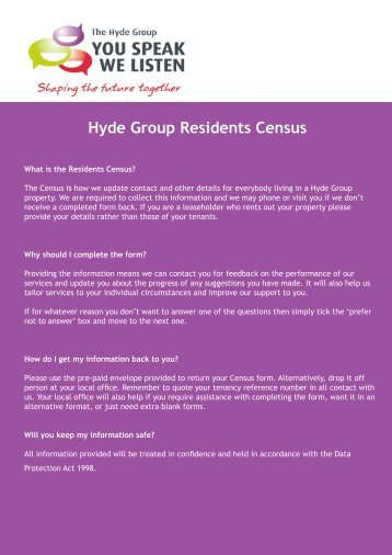 Hyde Group Residents Census - Hyde Housing Association