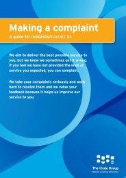 Making a Complaint (305KB) - Hyde Housing Association