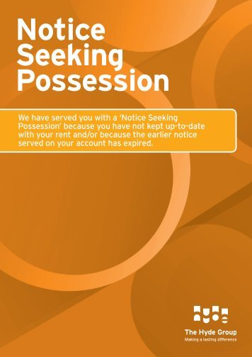 Notice Seeking Possession.indd - Hyde Housing Association