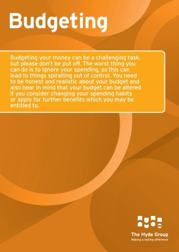 Budgeting advice - Hyde Housing Association
