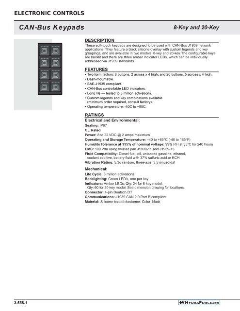 CAN-Bus Keypads - HydraForce