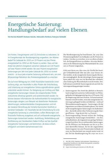 Energetische Sanierung: Handlungsbedarf auf vielen ... - DIW Berlin