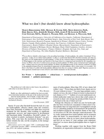 What we don't (but should) know about hydrocephalus