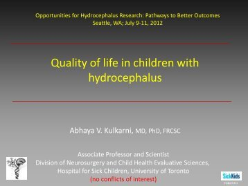 Quality of life in children with hydrocephalus