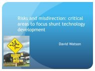 critical areas to focus shunt technology development