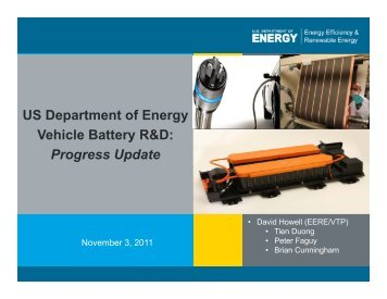 US Department of Energy Vehicle Battery R&D - DOE Hydrogen and ...