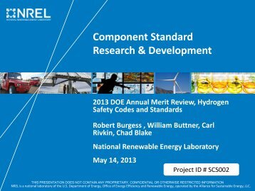 Component Standard Research & Development - DOE Hydrogen ...