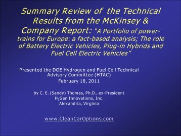 Summary Review of the Technical Results from the McKinsey ...