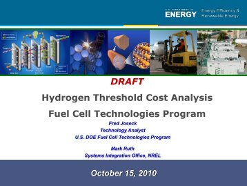 Hydrogen Threshold Cost Analysis Fuel Cell Technologies Program