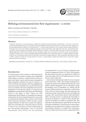 Defining environmental river flow requirements – a review - HAL