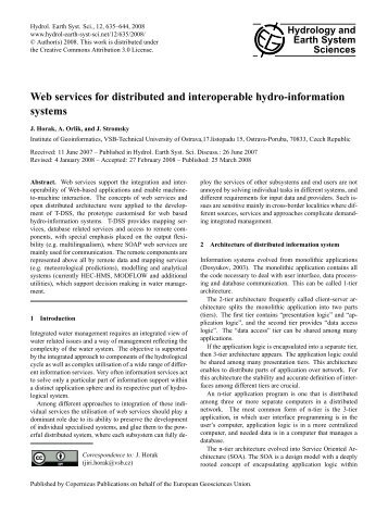 Web services for distributed and interoperable hydro-information ...