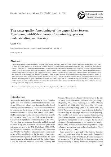 hydrology paper Hydrology and earth system sciences the paper presents major milestones in the transformation of hydrologic science over the last 50 years from engineering.