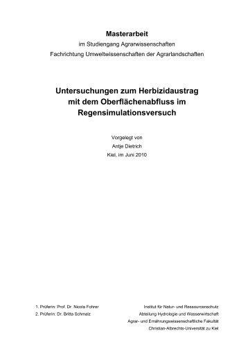 Untersuchungen zum Herbizidaustrag mit dem Oberflächenabfluss ...