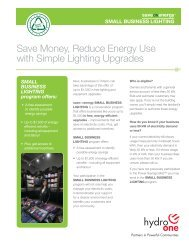 Save Money, Reduce Energy Use with Simple Lighting ... - Hydro One