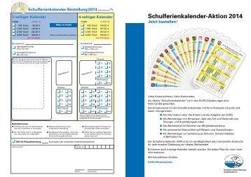 Schulferienkalender-Aktion 2014 - Materialstelle - DLRG