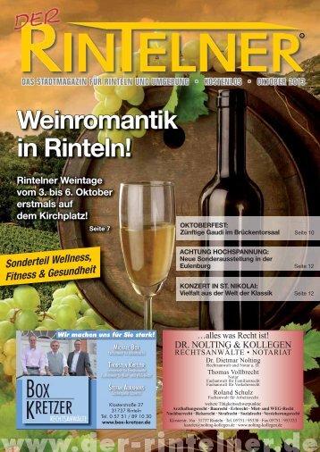 Weinromantik in Rinteln! Rintelner Weintage vom 3. bis 6. Oktober ...