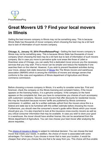 Great Movers US ? Find your local movers in Illinois