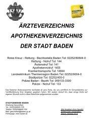 ärzteverzeichnis apothekenverzeichnis der stadt baden