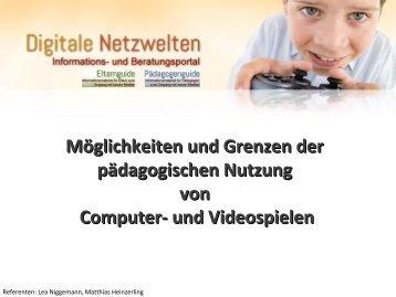 Möglichkeiten und Grenzen der pädagogischen Nutzung von ...