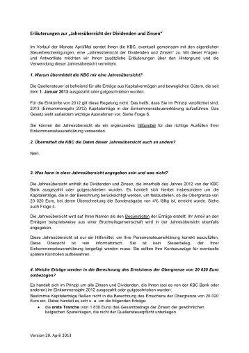 """Erläuterungen zur """"Jahresübersicht der Dividenden und Zinsen"""""""