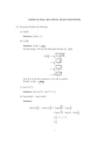 MATH 32 FALL 2013 FINAL EXAM SOLUTIONS (1) (12 points ...