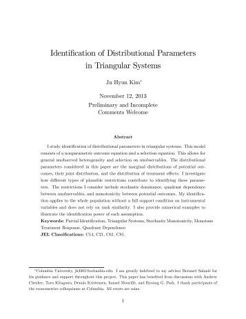 Identification of Distributional Parameters in Triangular Systems