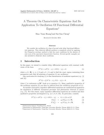 A Theorem On Characteristic Equations And Its Application To ...