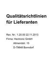 Qualitätsrichtlinien für Lieferanten - Hectronic GmbH