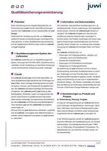 Qualitätssicherungsvereinbarung (QSV) - Juwi