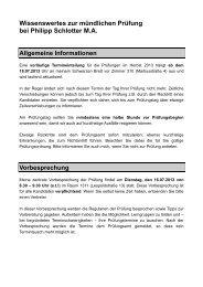 Wissenswertes zur mündlichen Prüfung bei Philipp Schlotter M.A.