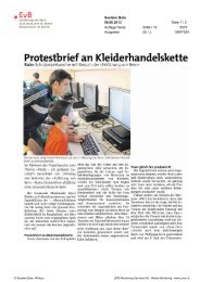 Protestbrief an Kleiderhandelskette - Erklärung von Bern