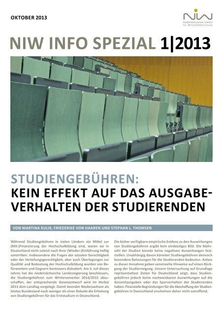 niw info spezial 1/2013: Studiengebühren: Kein Effekt auf das ...