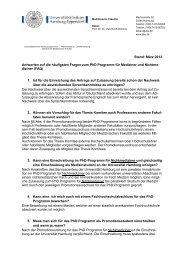 Fragen & Antworten zum PhD Programm - Universitätsklinikum ...