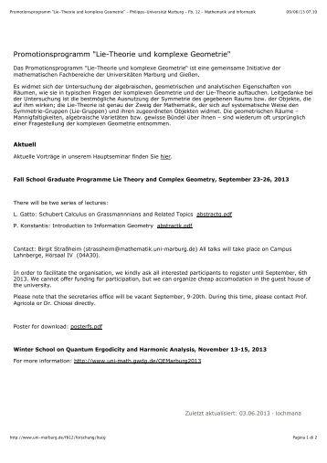 """Promotionsprogramm """"Lie-Theorie und komplexe Geometrie ..."""