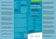 der komplette Flyer zur Jean-Paul-Literaturnacht - Stadt Bayreuth