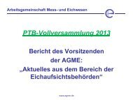 Aktuelles aus dem Bereich der Eichaufsichtsbehörden Dr ... - PTB