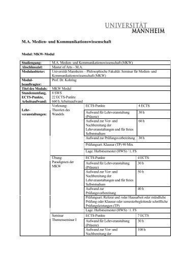 Modulkatalog - Universität Mannheim